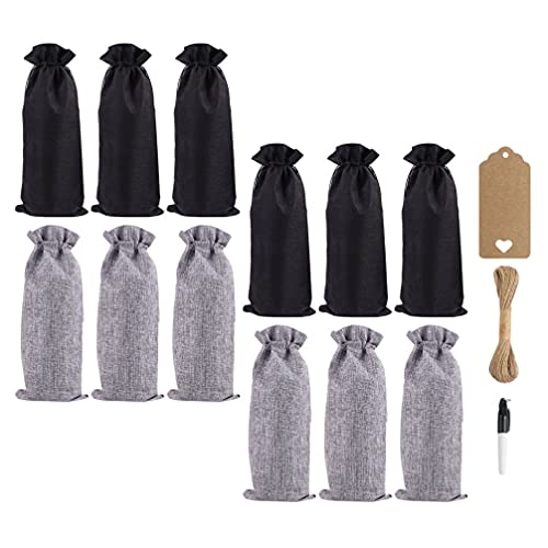 Lurrose 1 juego de bolsas de vino de lino con cordón para botella de vino, bolsas de arpillera, bolsas de almacenamiento de vino tinto, protector de botella de vino para el hogar, bar, fiesta