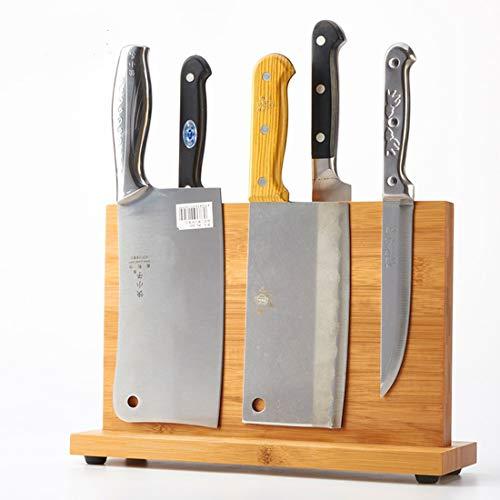 Bloc de couteaux magnétique en bambou, support de couteaux de cuisine, support pour couteaux de boucher en métal, couteaux non inclus (A)