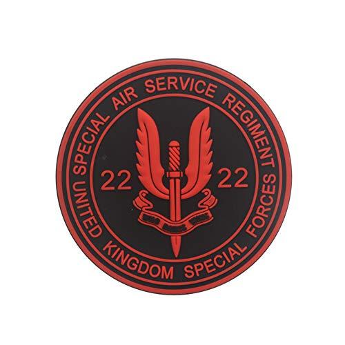 Ohrong Parche de PVC de Airsoft SAS SWAT Morale con emblema táctico militar para cosplay con parte trasera de gancho (rojo)