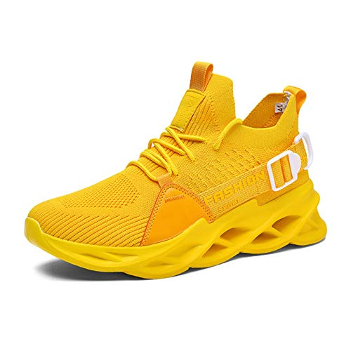 Yao Hombre Zapatos Altos Zapatilla Zapatillas para Correr Zapatillas Deportivas para Caminar para Fitness Al Aire Libre Zapatos Antideslizantes Transpirable Cómodo (Color : Amarillo, Size : EU 37)