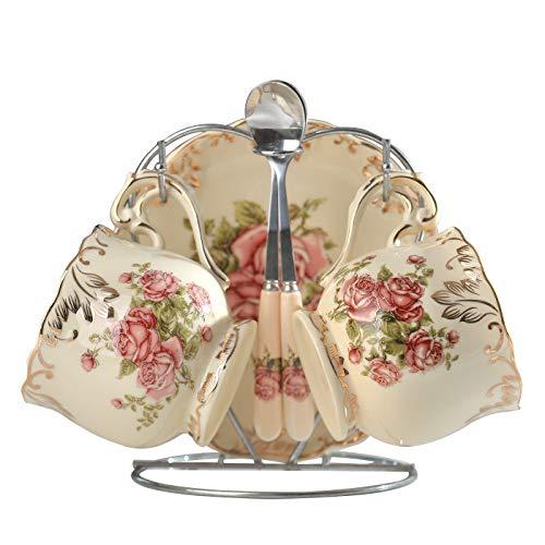 Yolife Floral Tea Tasse und Untertasse Set, Vintage Tee Service set 2 cup rose pattern elfenbeinfarben