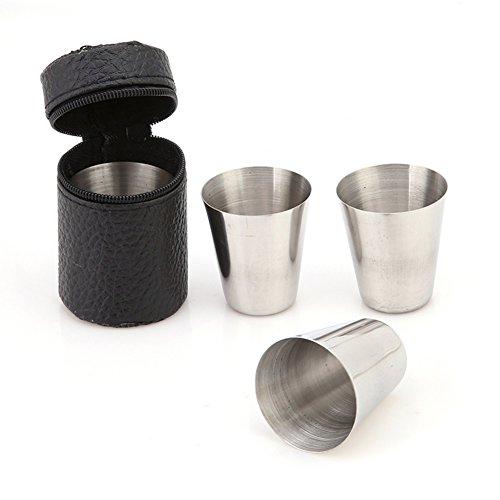 Gemini_mall® 4 Stück Edelstahlbecher mit schwarzem PU-Lederetui, BPA-freie Metall-Trinkbecher, perfekt für Wandern, Picknick, Camping und Reisen