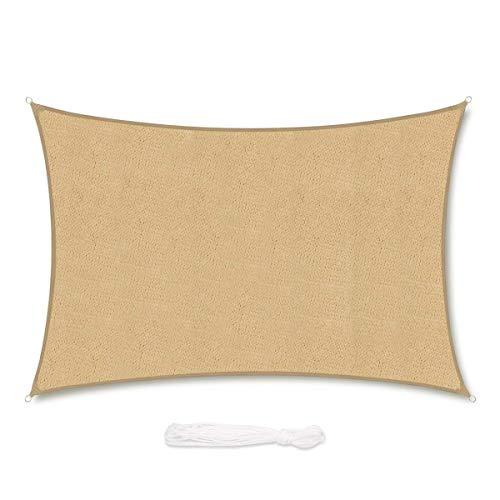 Sekey Toldo Vela de Sombra Rectangular HDPE Protección Rayos UV Resistente Permeable Transpirable para Patio, Exteriores, Jardín, 3× 4m Arena, con Cuerda Libre