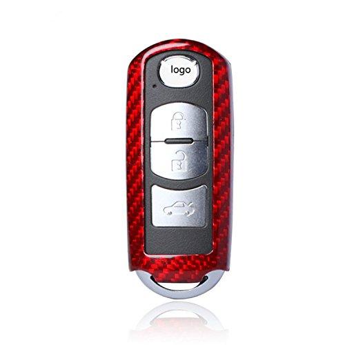 M.JVisun Funda protectora de fibra de carbono auténtica para llave de coche Mazda2, 3, 6, 8, CX-3,