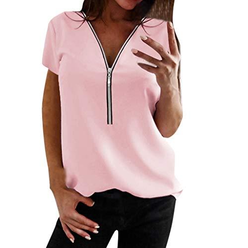 VJGOAL dames T-shirt Zipper V-hals korte mouwen tops tuniek casual T-shirts blouse met ritssluiting