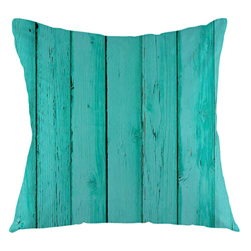 FULIYA Mint Throw Pillow Cushion Cover Old Wood Rustic Oak Plank Background with Vertical Striped Vivid Woods Farm Barn Image Decorative Square Accent Pillow Case, 20' X 20',Sea Green