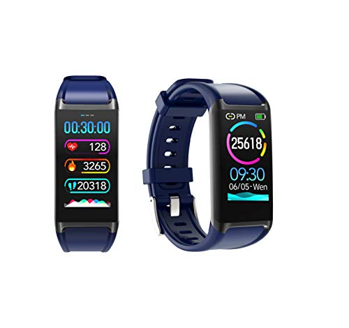 LCARE Mambo Fitness Band Pedometer, HR and BP, Sleep Tracker, Smart Activity Tracker for Android and iPhone (Black) (Navy Blue)