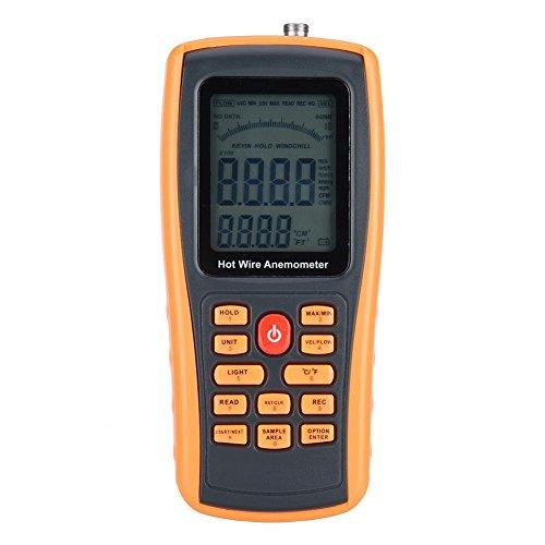 GM8903 Anemómetro portátil, medidor de viento digital, medidor de flujo de aire con luz de fondo para windsurf, pesca voladora