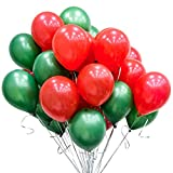 100pcs Red Green Balloons - 12 Inch Latex Christmas Balloons for Christmas Themed Party Decorations
