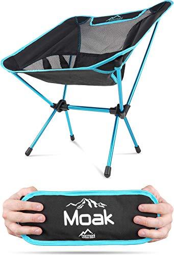 Campingstuhl Ultraleicht und Kompakt - Klappbarer Outdoorstuhl mit 796g! Faltbarer Strandstuhl Anglerstuhl Festivalstuhl Wanderstuhl Farbe Blau
