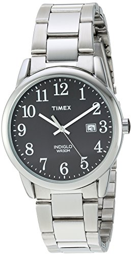 Timex Men's TW2R23400 Easy Reader Silver-Tone/Black Stainless Steel Bracelet Watch Shops Watches Wrist