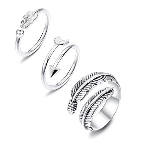 Adramata 3 anillos abiertos ajustables de plata para mujeres y niñas, con plumas para el pulgar, apilables, para nudillos, flechas laterales y horizontales.