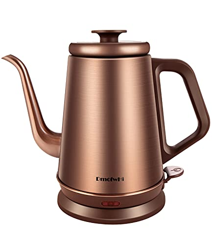DmofwHi 1000W Gooseneck Electric Kettle (1.0L),100% Stainless Steel BPA Free Electric Tea Kettle with Auto Shut - Off Protection, Pour Over Coffee Kettle for Coffee and Tea-Copper