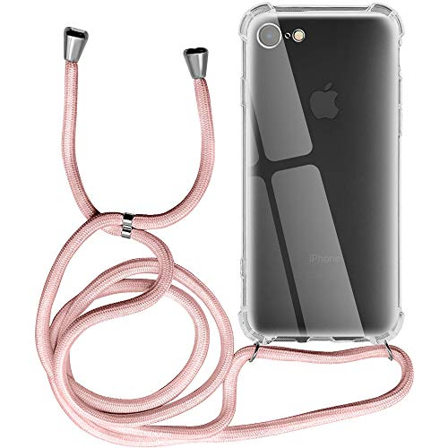Funda para iPhone 8, Transparente Silicona Carcasa con Cuerda para iPhone 7/ iPhone SE 2020, Suave TPU Case con Cuerda para Colgar Ajustable Anti Golpes Protector Case iPhone SE 2020, Rosa de Oro