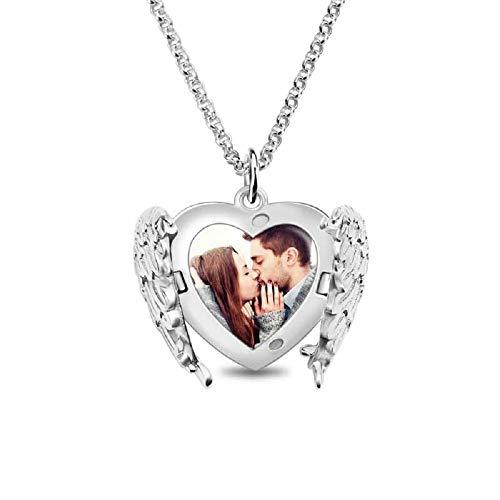 Top WHY Collar con Foto grabada Personalizada, Collar de Plata esterlina 925 con alas de ángel y Colgante de corazón
