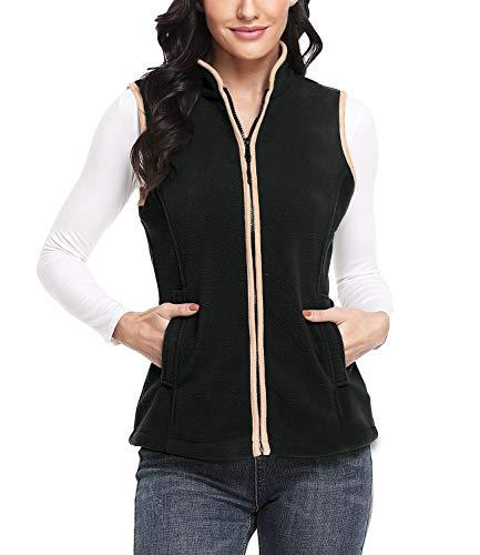Dilgul Damen Fleece Weste mit Stehkragen Reißverschluss Jacke Outdoorweste Ultraleicht schwarz 46