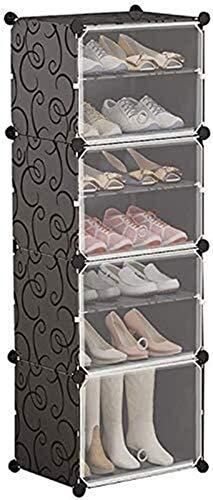 QZMX Estante de Zapatos Recipiente de plástico Gabinete Zapatero 2 8 Zapatos Organizador con translúcido Puerta, Flexible de DIY Soluciones for Adaptarse a Todos los Espacios Estante (Size : 7 Tier)