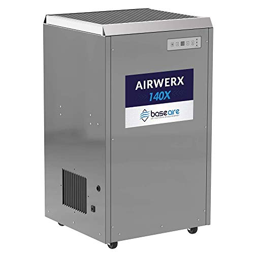 BaseAire AirWerx140X Whole House Dehumidifier Removal 140 Pints at AHAM with cETL Listed, Basement dehumidifier,5 Years Warranty, Portable,with a Condensate Pump, HGV Defrosting, Remote Control