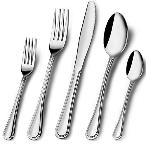 Elegant Life 20 TLG Besteckset,Besteck aus Edelstahl,Service für 4 Personen,Messergabel-Löffel-Set Ideal für Zuhause/Camping/Party,einfach zu reinigen und spülmaschinenfest-gesund und spiegelpoliert