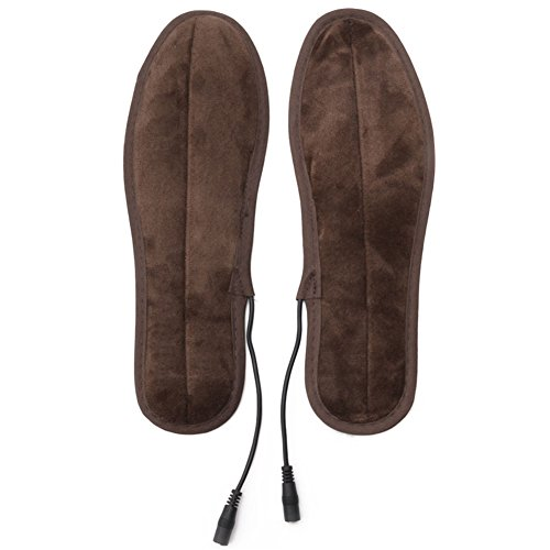 TwinkBling Semelles chauffantes USB électrique Alimenté Chauffage Fourrure pelucheuse Semelles d'hiver de Maintien au Chaud Semelles de Chaussures de Foot, 41-42(26cm)