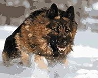 手塗り絵 デジタル油絵 油絵カラフルキット キャンバスの家の装飾の贈り物 40x50cm フレームレス雪のジャーマンシェパード