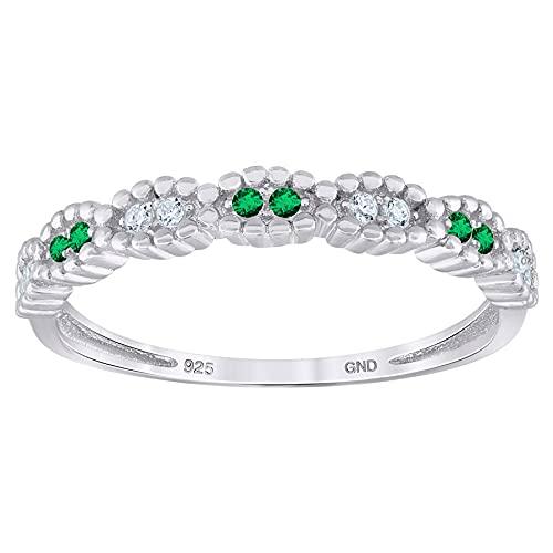Anillo de plata de ley 925 para mujer, con circonita cúbica y circonita cúbica de imitación de diamante semieternidad, apilable, tamaño de anillo de boda, regalo para mujeres