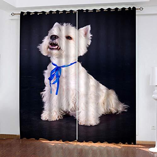 ZXPAG Cortina Aislante Para Dormitorio 3D Cortina Opaca Cortinas De Salón Y Dormitorio Moderno Aislantes Térmicas Con Ojales 2 Piezas - 160X160Cm - Perro Animal Blanco