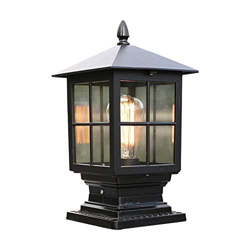 HSCW Estilo chino de aluminio E27 exterior Faros columna impermeable y a prueba de herrumbre de jardín Iluminación de jardín Villa Luz de grama pantalla de cristal Porche Farola paisaje iluminación de