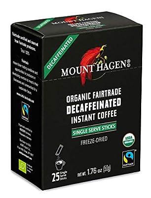 Mount Hagen Organic Instant Decaffeinated Coffee, 25-Count Single Serve Sticks (Pack of 4)