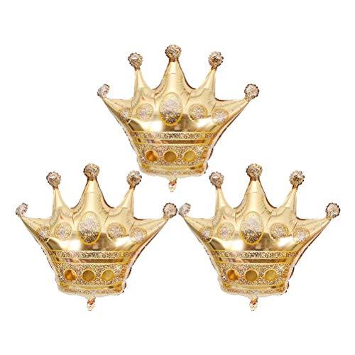 Toyvian Globos de la Hoja de la Corona Globos de Oro para la decoración de Banquete de Boda de cumpleaños 3pcs