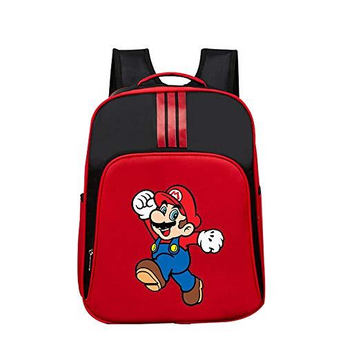Super Mario Daypacks Beliebte Rucksack Kindergarten Schultasche Für Mädchen Jungen Anime Muster Reise Lässig Tagesgebrauch (Color : Red04, Size : 32 X 14 X 40cm)