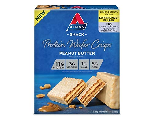 Atkins Peanut Butter Protein Wafer Crisps - 5 Bars, Low Carb, No Added Sugar
