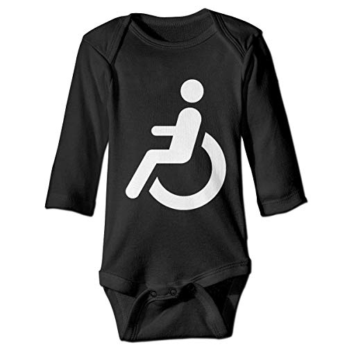 AOOEDM - Body de Manga Larga con Logo en Silla de Ruedas para bebé, Mamelucos Suaves