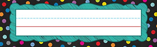 Carson Dellosa Polka Dot Chalkboard Nameplates—Colorful Labels with Writing Line for Student Name Tags, Cubbies, Desks, and Locker Labels, Homeschool or Classroom Supplies Organizer (36 pc)