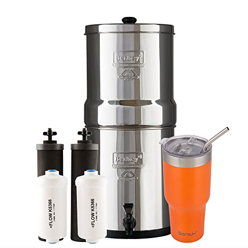 Big Berkey Water Filter System with 2 Black Purifier Filters (2 Gallons) Bundled with 1 set of Fluoride (PF2) Filters and 1 Boroux Double Walled 30 oz Stainless Steel Tumbler Cup