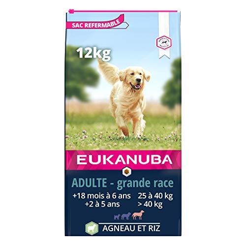 Eukanuba – Croquettes Riches en Agneau et Riz pour Chiens Adultes Grande Race – Digestion sensible - Glucosamine & Chondroïtine - Sans OGM conservateur arôme artificiel - 12kg