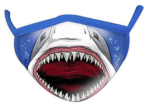 Wild Republic Mascherina per bambini Wild Smiles, perfetta da applicare sopra alla mascherina per uso medico, riutilizzabile, lavabile, mascherina metà viso, motivo squalo