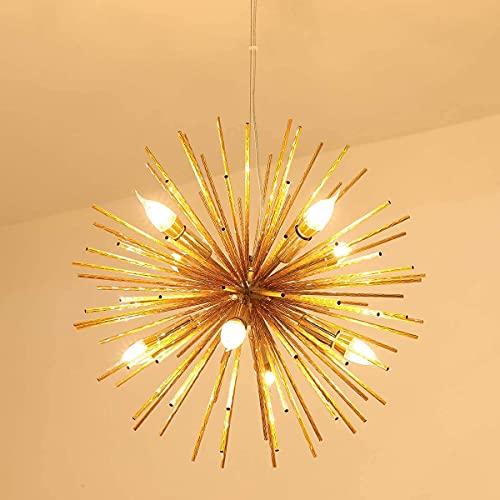 JIINOO Lámpara de Araña de Fuegos Artificiales Con 8 Luces, Iluminación Colgante de Arte Moderno, Lámpara de Techo de Acero Inoxidable Lámpara Colgante de Aluminio Forjado Dormitorio Sala de Estar
