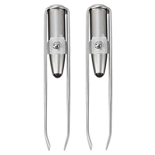 2PCS LED sopracciglio depilazione pinzette in acciaio INOX trucco strumento cosmetico