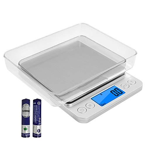 Speyang 3000g 0.1g balanza de Cocina, balanza de Alimentos Multifuncional, Báscula de Cocina Digital, Balanza de Precision, Báscula Electrónica de Cocina, con 2 Bandejas y Baterías