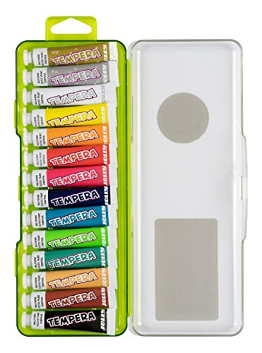Jolly - Set di 12 tubetti di Colori a Tempera, per Bambini, 7,5 ml