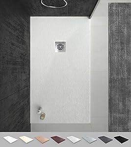 VAROBATH -Plato de ducha de Resina Blanco , extraplano, antideslizantes C3 y anti-bacterianos. Incluye válvula. Fabricado en España. (80x100)
