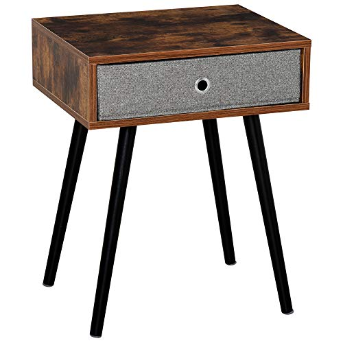 HOMCOM Side Table, Nightstand, End Table with Removable Fabric Drawer, Retro Style Accent Furniture with Wooden Legs, Rustic Brown and Black