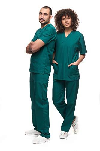 Mazalat , Uniforme médico unisex con casaca y pantalón, kit de limpieza médica para cuidado de la ropa de trabajo verde M