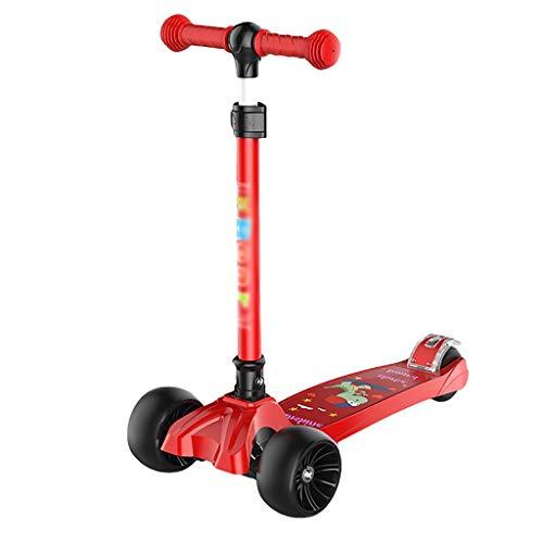 Dongxiao Niños Kick Scooter 3-12 Años 3 Altura Ajustable PU Plegable PU Flashing Ruedas Ligero para Niños Niñas ( Color : Red )