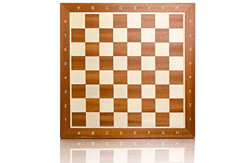Tablero de ajedrez profesional con incrustaciones de 48 cm / 19 pulgadas de caoba de torneo alfanumérico n. ° 5