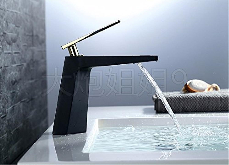 MMYNL TAPS MMYNL Waschtischarmatur Bad Mischbatterie Badarmatur Waschbecken Antike Einloch Einzigen Griff Alle Kupfer Schwarz Heien und Kalten Wasserfall Wasserhahn Badezimmer Waschtischmischer
