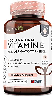 Vitamin E 400IU D-Alpha Tocopherol – 100% Natural Vitamin E – 90 Vegan Capsules – Highly Absorbable – 3 Month Supply – Protects Cells from Oxidative Stress – Made in The UK by Nutravita