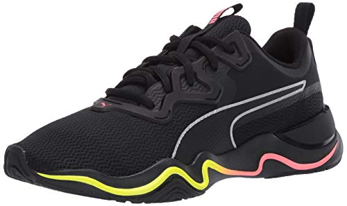 PUMA womens Zone Xt Sneaker, Puma Black-nite Pink-puma Silver, 9 US