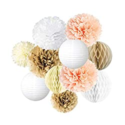 Honeycombs, lanterns in gold, peach, and white. Elegant baby shower decoration.
